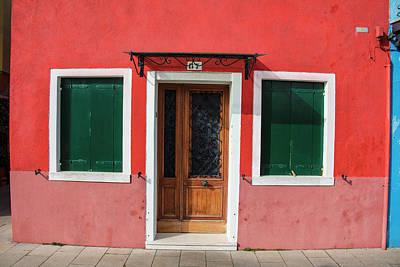 Photograph - Burano Italy Red House With Green Shutters by John McGraw