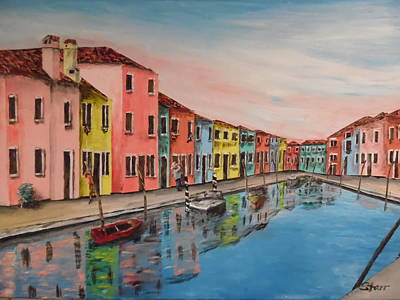 Burano Italy Reflections Original by Irving Starr