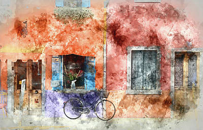 Vivid Colour Painting - Burano Italy Digital Watercolor On Photograph by Brandon Bourdages