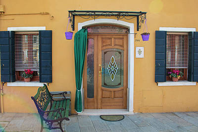 Photograph - Burano Italy Yellow House by John McGraw
