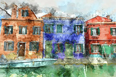 Photograph - Burano  Near Venice Italy  Island Canal With Small Colored House by Brandon Bourdages