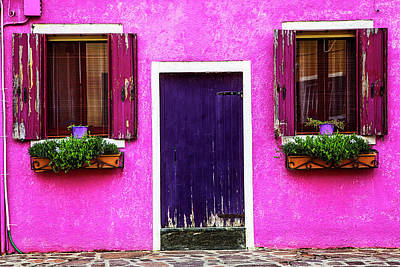 Entrance Door Photograph - Burano Purple by Andrew Soundarajan