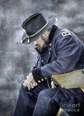 Burden Of War Civil War Union General Art Print by Randy Steele