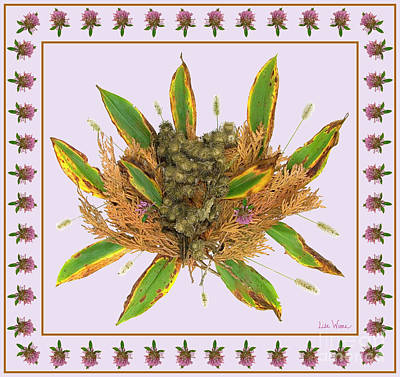 Digital Art - Burdocks With Grass Seed, Lilly Of The Valley Leaves, Dried Up Cedar And Clovers by Lise Winne
