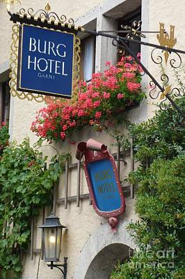 Photograph - Burg Hotel Sign In Rothenburg by Carol Groenen