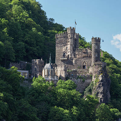 Reconstruction Photograph - Burg Rheinstein Squared by Teresa Mucha