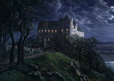 Night Lamp Painting - Burg Scharfenberg At Night by MotionAge Designs