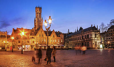 Photograph - Burg Square At Night - Bruges by Barry O Carroll