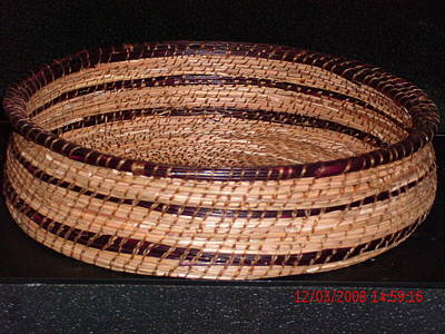 Pine Needle Baskets Sculpture - Burgandy And Brown Basket by Russell  Barton