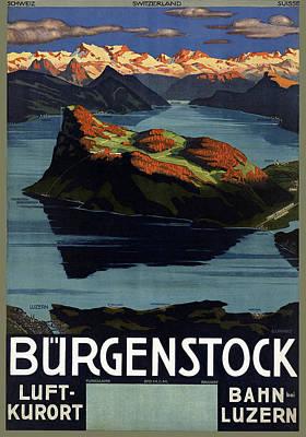 Lake Mixed Media - Burgenstock - Lake Lucerne - Switzerland - Retro Poster - Vintage Travel Advertising Poster by Studio Grafiikka