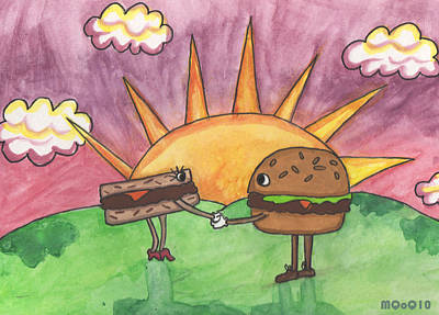 Burger And Patty Art Print by Michelley QueenofQueens