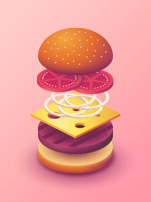 Burger Isometric Deconstructed - Salmon Art Print