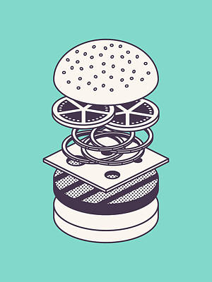 Burger Isometric Lineart Deconstructed - Mint Art Print by Ivan Krpan