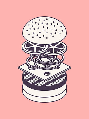 Burger Isometric Lineart Deconstructed - Salmon Art Print by Ivan Krpan