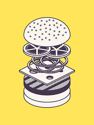 Burger Isometric Lineart Deconstructed - Yellow Art Print by Ivan Krpan