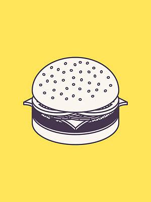 Cheeseburger Digital Art - Burger Isometric Lineart - Yellow by Ivan Krpan