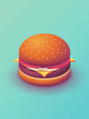Poster Digital Art - Burger Isometric - Plain Mint by Ivan Krpan
