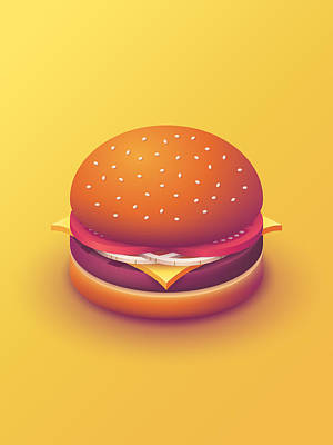 Burger Isometric - Plain Yellow Art Print