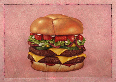 Food And Beverage Drawing - Burger by James W Johnson