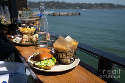 Photograph - Burgers With A View At Barrel House Restaurants On Bridgeway Sausalito California Dsc6070 by Wingsdomain Art and Photography