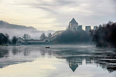Photograph - Burghausen - Gunpowder Tower And Morning Mist by Alexander Kunz
