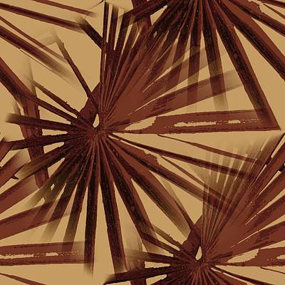 Burgundy And Coffee Tropical Beach Palm Vector Art Print
