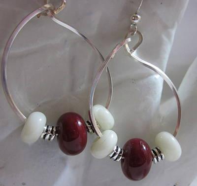 Silver Findings Jewelry - Burgundy And White Hoop Earrings by Janet  Telander