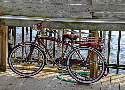 Photograph - Burgundy Bicycle by Linda Brown