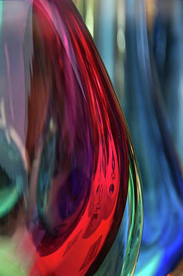 Photograph - Burgundy Blue Glass Abstract by Jenny Rainbow