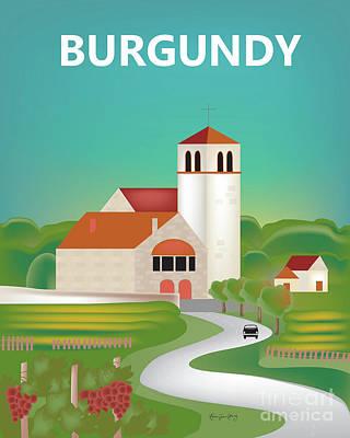 Vineyard Digital Art - Burgundy, France Vertical Scene by Karen Young