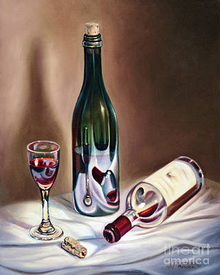 Wine Bottle Painting - Burgundy Still by Ricardo Chavez-Mendez