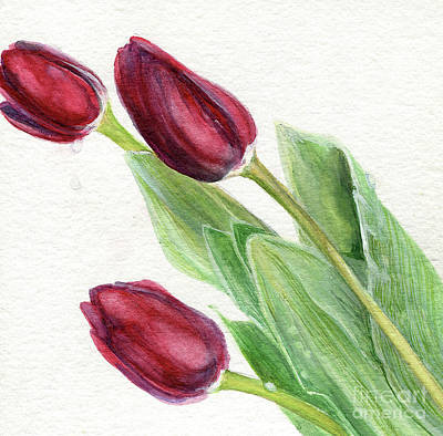 Painting - Burgundy Tulips by Laurie Rohner
