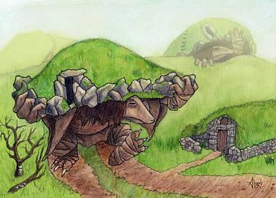 Drawing - Burial Mound Trolls by Bard Algol