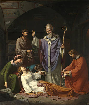 Luis Sales Painting - Burial Of Saint Cecilia In The Catacombs Of Rome by Luis de Madrazo