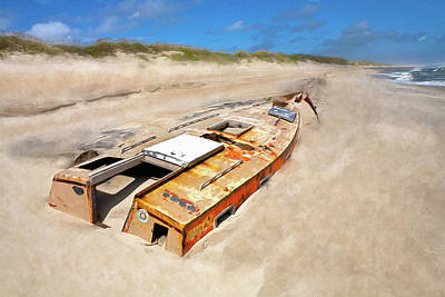Painting - Buried Shipwreck Boat On The Outer Banks Ap by Dan Carmichael