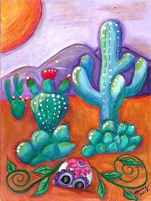 Painting - Buried Sugar Skull In Desert by Monica Resinger