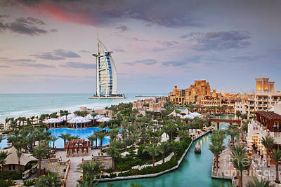 Burj Al Arab Hotel And Madinat Jumeirah Resort Art Print by Jeremy Woodhouse
