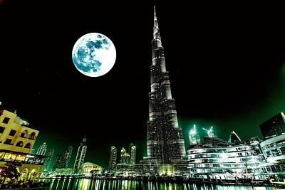 Arab Painting - Burj Khalifa Emirates Dubai 3a by Celestial Images
