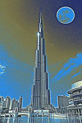 Tower Painting - Burj Khalifa Emirates Dubai Travel Poster 3 by Celestial Images