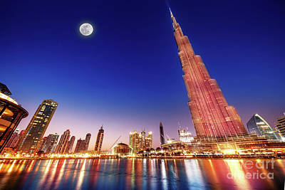 Photograph - Burj Khalifa Night Landscape by Anna Om