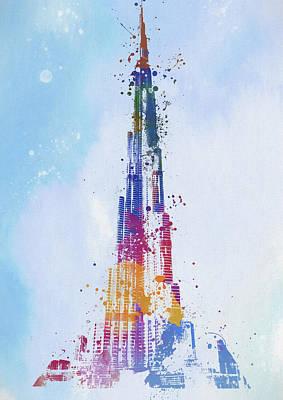 Painting - Burj Khalifa Watercolor by Dan Sproul