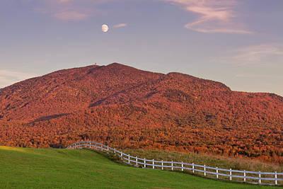 Photograph - Burke Mountain Autumn Moonrise by Alan L Graham