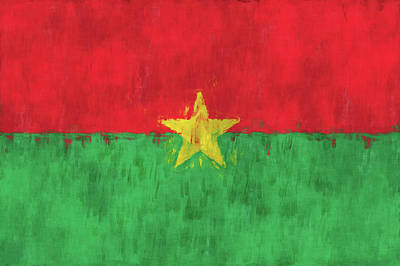 West Africa Digital Art - Burkina Faso Flag by World Art Prints And Designs