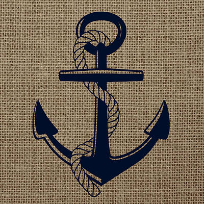 Burlap Anchor Art Print