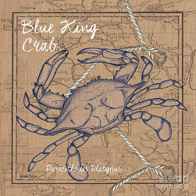 Beach Shell Sand Sea Ocean Painting - Burlap Blue Crab by Debbie DeWitt