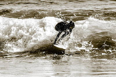 Black And White Photograph - Burleigh Heads Surf by Nomadic Ninja Negativs