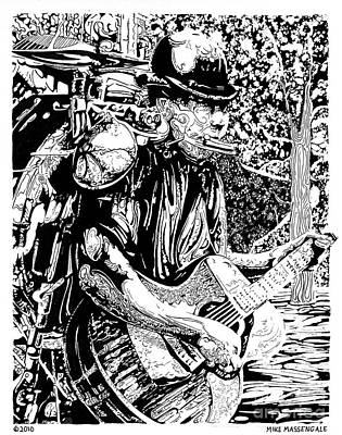 Drawing - Burlington Bob The One Man Band by Mike Massengale