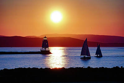 Photograph - Burlington Breakwater Sunset by Mark Robert Rogers