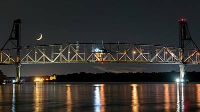 Burlington Bristol Bridge And Crescent Moon Art Print by Robert Barnes