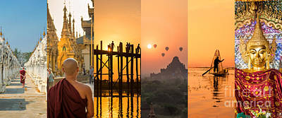 Photograph - Burma Collage by Delphimages Photo Creations